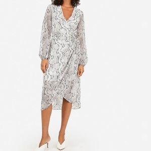 White Closet Snakeskin Long Sleeve Wrap Dress MED